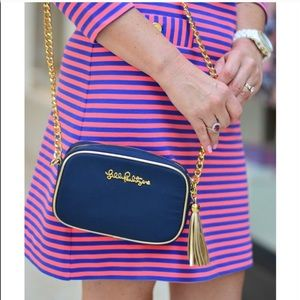 Lilly Pulitzer Cross Town Clutch Navy Crossbody